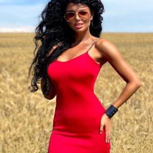 Купить красное платье с бретелями-цепочками для женщин в интернете