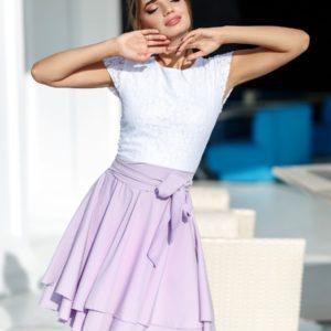 Заказать лиловое женское платье с гипюром по скидке