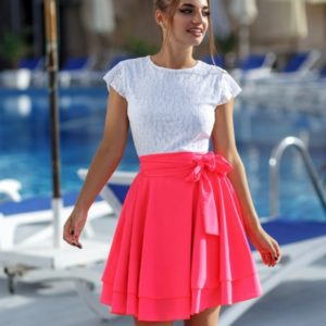Купить дешево малиновое платье с гипюром для женщин