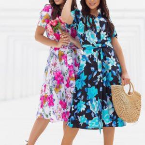 Заказать голубое, розовое шелковое платье в цветочный принт (размер 48-52) для женщин в интернете