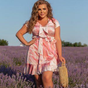 Придбати рожеве жіноче шовкове плаття на запах з розлученнями (розмір 46-56) недорого