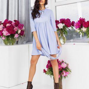 Купить голубое женское стрейчевое платье из жатого льна (размер 42-56) онлайн