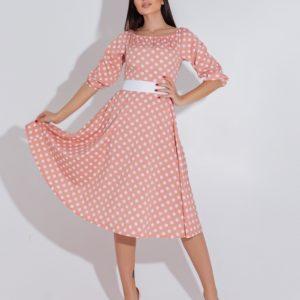 Купить по скидке пудра платье в горошек с атласным поясом (размер 48-54) для женщин