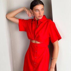 Заказать недорого платье-рубашку с вырезом красное для женщин