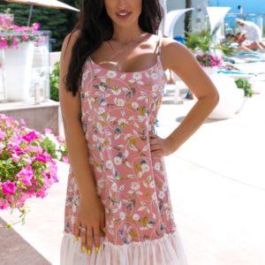 Купить онлайн пудра летнее платье в цветочек с сеткой (размер 42-52) для женщин