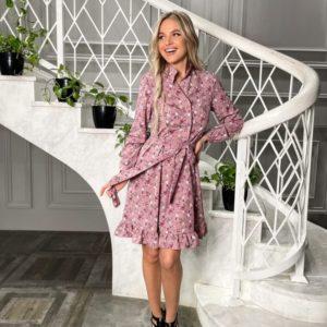 Заказать онлайн фреза платье-рубашку в цветы с длинным рукавом (размер 42-48) для женщин