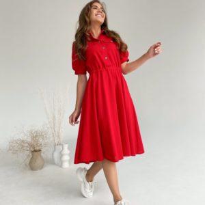 Приобрести выгодно красное платье из льна с рукавами-фонариками (размер 42-48) для женщин