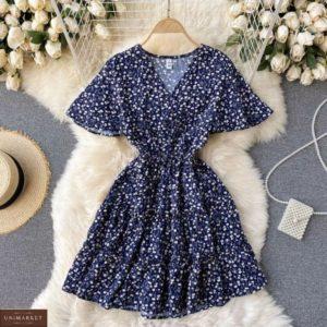 Замовити недорого синє плаття з квітковим принтом з штапеля для жінок