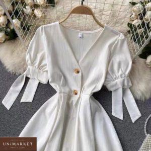 Заказать белое женское платье из штапеля с рукавами-фонариками по скидке