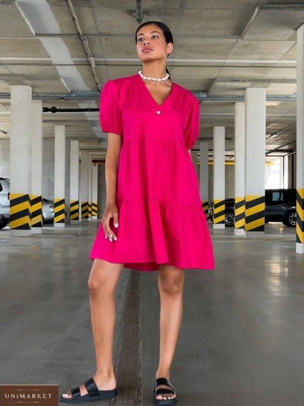Купить по скидке малиновое платье оверсайз из коттона (размер 42-48) для женщин