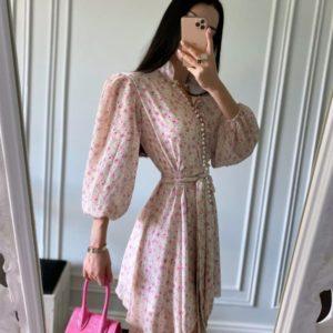 Купить женское розовое летнее платье из шифона дешево
