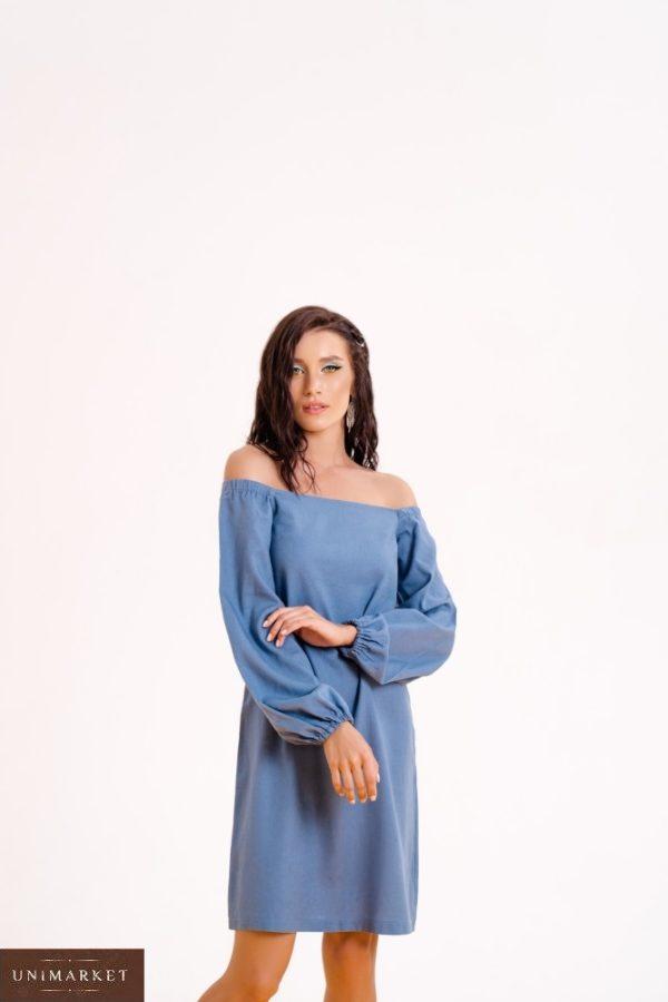 Купить недорог синее женское платье из льна с длинным рукавом (размер 42-48)