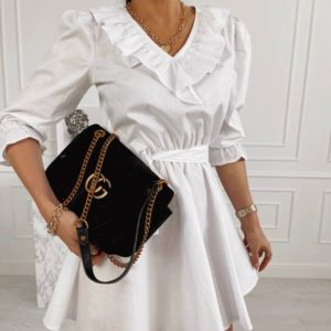 Приобрести белое женское платье с рюшами из коттона выгодно