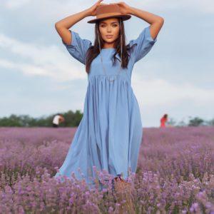 Заказать по скидке голубое платье из штапеля с объемными рукавами (размер 42-52) для женщин