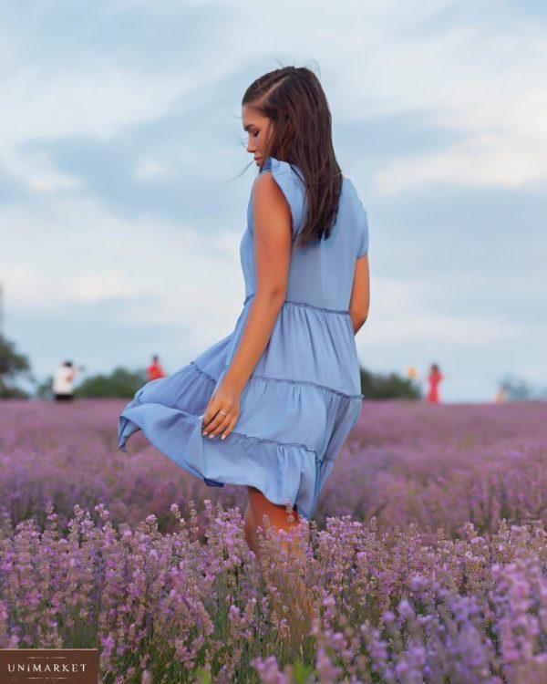 Купить по скидке женское голубое летнее платье с рюшами (размер 42-52)