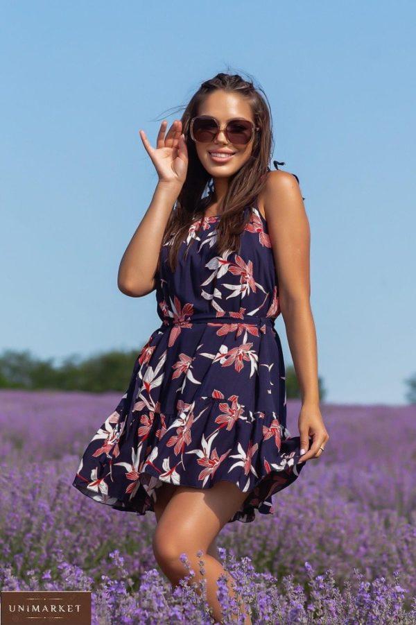 Приобрести выгодно синее платье мини из натурального льна (размер 42-48) для женщин
