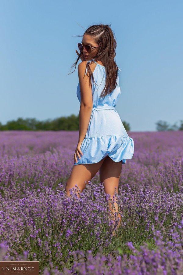 Приобрести выгодно голубое летнее платье в мелкий горошек (размер 42-48) для женщин