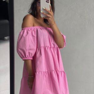 Приобрести розовое женское платье из коттона с открытыми плечами по низким ценам