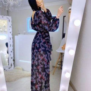 Замовити чорне жіноче шифонове плаття на запах в інтернеті