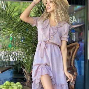 Купити онлайн беж шифонове плаття в горошок (розмір 42-48) для жінок