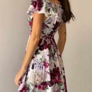 Заказать цвета марсала женское цветочное платье со шнуровкой в интернете
