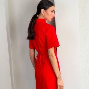 Приобрести красное женское платье-рубашку с вырезом в интернете