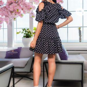 Приобрести в интернете черное платье в горошек с рюшами (размер 48-54) для женщин