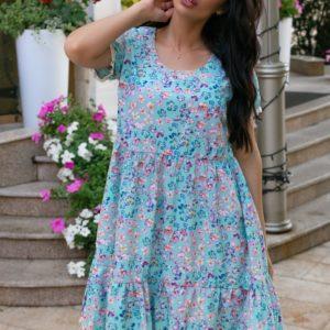Приобрести голубое женское летнее платье в цветочек (размер 42-52) по скидке