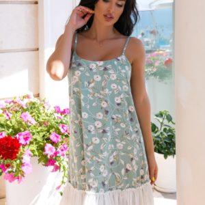 Приобрести по скидке оливка летнее платье в цветочек с сеткой (размер 42-52) для женщин