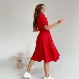 Заказать онлайн красное женское платье из льна с рукавами-фонариками (размер 42-48)