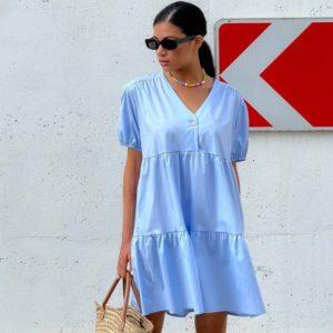 Заказать в интернете голубое платье оверсайз из коттона (размер 42-48) женское