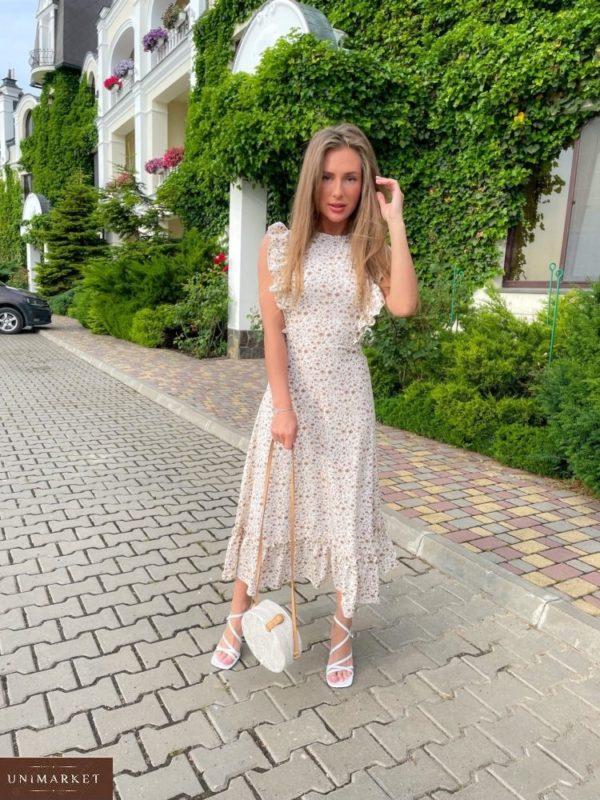 Приобрести выгодно женское платье миди с рюшами (размер 42-48) белого цвета