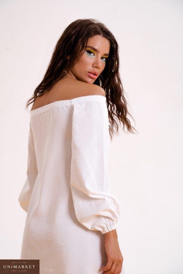 Приобрести выгодно белое платье из льна с длинным рукавом (размер 42-48) для женщин