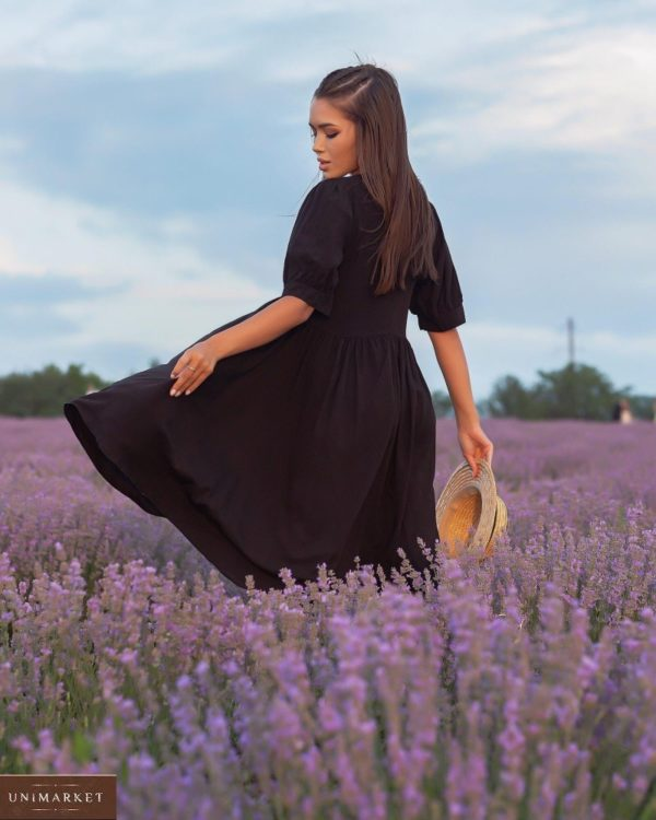 Приобрести черное платье из штапеля с объемными рукавами (размер 42-52) для женщин выгодно