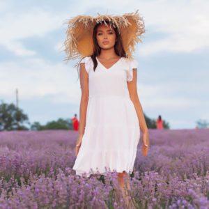 Приобрести выгодно белое летнее платье с рюшами (размер 42-52) для женщин