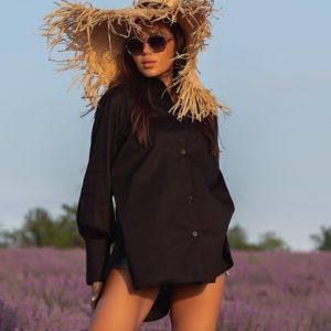 Приобрести черную женскую удлиненную рубашку с длинным рукавом (размер 42-48) онлайн