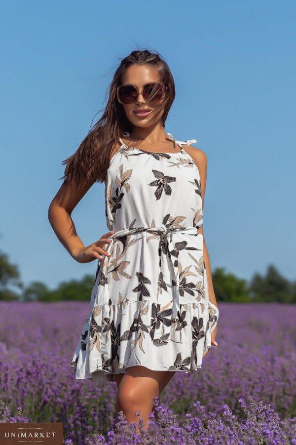 Купить онлайн белое женское платье мини из натурального льна (размер 42-48)