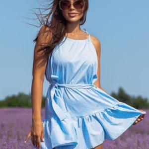 Купить по низким ценам женское летнее платье в мелкий горошек (размер 42-48) голубое
