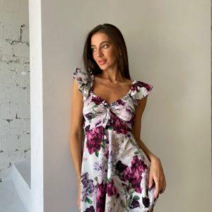 Купить онлайн цветочное платье со шнуровкой для женщин марсала