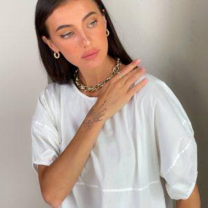 Купить онлайн белого цвета свободное платье из коттона (размер 42-48) для женщин