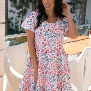 Купить в интернете белое летнее платье в цветочек (размер 42-52) для женщин