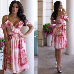 Купить коралловое женское шелковое платье с мраморным принтом (размер 44-52) в Украине