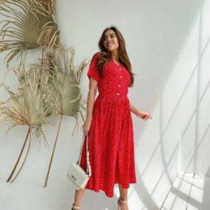 Купить дешево красное платье миди в удлиненный горошек (размер 42-48) для женщин