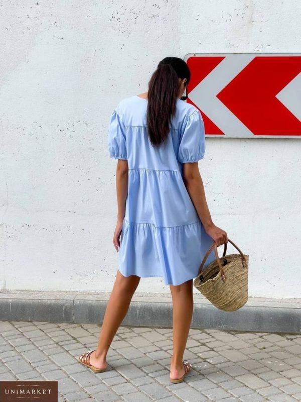 Приобрести голубое женское платье оверсайз из коттона (размер 42-48) в Украине
