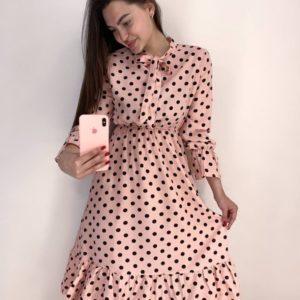 Приобрести выгодно пудра женское платье в горошек с завязкой