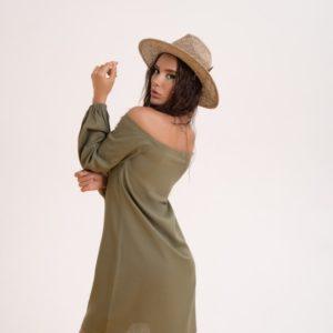 Купить по низким ценам женское платье из льна с длинным рукавом (размер 42-48) цвета хаки