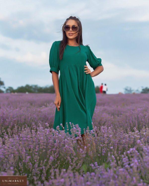 Заказать онлайн зеленое платье из штапеля с объемными рукавами (размер 42-52) для женщин