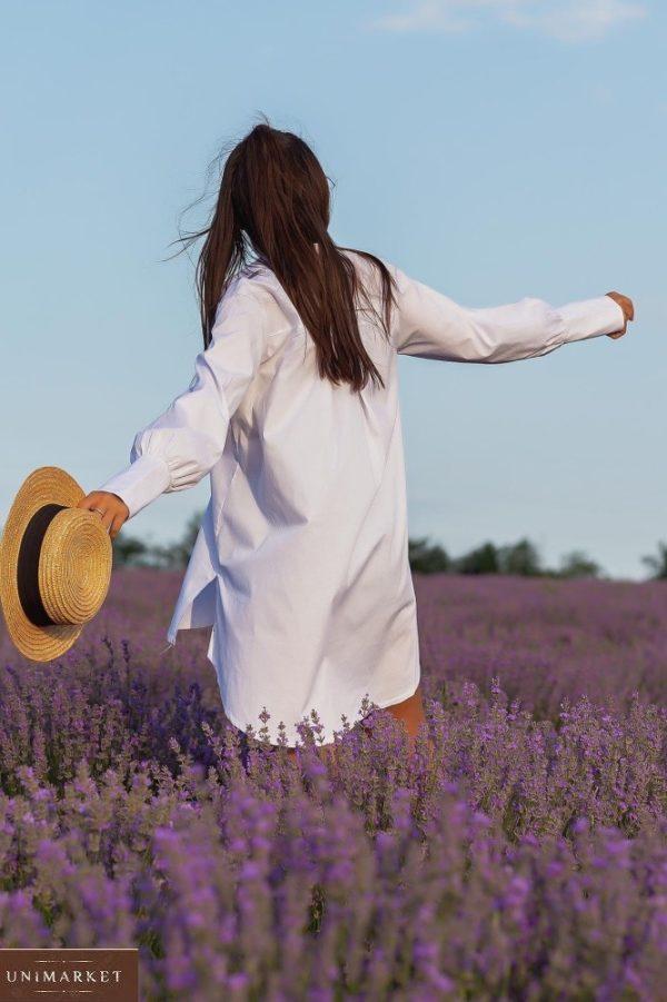 Приобрести женскую удлиненную рубашку с длинным рукавом (размер 42-48) белого цвета дешево