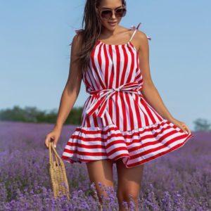 Заказать красное платье мини из натурального льна (размер 42-48) женское в интернете
