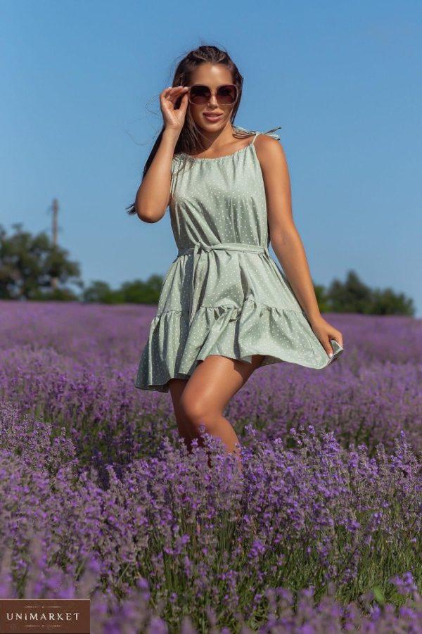 Приобрести оливковое женское летнее платье в мелкий горошек (размер 42-48) в интернете
